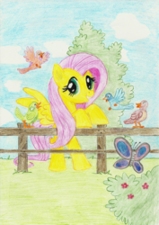 Size: 1500x2121 | Tagged: safe, artist:r1nkaenbyou, fluttershy, bird, butterfly, pony, bush, female, fence, flower, grass, looking at you, mare, solo, traditional art
