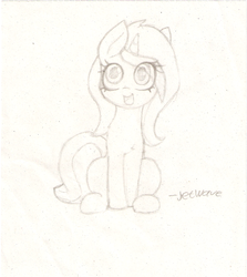 Size: 1184x1330 | Tagged: safe, artist:jetwave, oc, oc only, oc:cherry sundae, pony, unicorn, fallout equestria, fallout equestria: broken bonds, cute, fanfic art, female, large eyes, mare, monochrome, sitting, smiling, solo