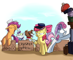 Size: 2200x1800 | Tagged: apple bloom, artist:rocket-lawnchair, cardboard box, cat, cutie mark crusaders, dog, earth pony, female, filly, hat, luggage, opalescence, pegasus, pony, safe, scootaloo, shrunken pupils, sweetie belle, this will end in pain, unicorn, winona