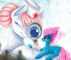 Size: 975x819 | Tagged: safe, artist:shady-bush, nurse redheart, seabreeze, breezie, pony, bandage, magnifying glass