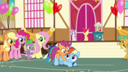Size: 1920x1080 | Tagged: safe, screencap, apple bloom, applejack, fluttershy, mayor mare, pinkie pie, rainbow dash, scootaloo, snails, spike, sweetie belle, pony, the last crusade, spoiler:s09e12, cute, cutealoo, cutie mark crusaders, dashabetes, out of context, ponies riding ponies, riding, scootalove