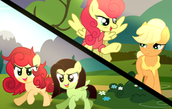 Size: 1006x638 | Tagged: applejack, applerise, artist:arina-gewmyako, artist:dipi11, artist:missxxfofa123, bags under eyes, bandana, base used, blank flank, bush, clothes, comic, earth pony, female, filly, flying, icey-verse, lesbian, magical lesbian spawn, oc, oc:apple berry, oc:white lilly, offspring, older, older applejack, open mouth, parent:applejack, parents:applerise, parent:strawberry sunrise, pegasus, pony, raised hoof, raised leg, running, safe, shipping, shirt, siblings, sisters, strawberry sunrise, tree, younger