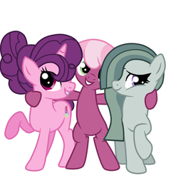 Size: 851x886 | Tagged: safe, artist:missxxfofa123, cheerilee, marble pie, sugar belle, earth pony, pony, unicorn, alternate hairstyle, bipedal, cute, female, friendshipping, grin, hug, lesbian, marbelle, marbilee, mare, polyamory, polygamy, raised hoof, shipping, simple background, smiling, sugarlee, sugarmarilee, white background