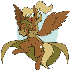 Size: 1200x1210 | Tagged: safe, artist:egophiliac, oc, oc only, oc:threnody, pegasus, pony, fallout equestria, fallout equestria: speak, blaze (coat marking), clothes, coat, fanfic art, female, happy, palindrome get, simple background, smiling, solo, spread wings, transparent background, wings