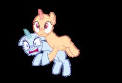 Size: 1081x739 | Tagged: safe, artist:corporalvortex, earth pony, pony, unicorn, base, blushing, carrying, female, mare