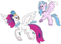 Size: 3204x2344 | Tagged: artist:supahdonarudo, aunt and niece, classical hippogriff, flying, hippogriff, jewelry, my little pony: the movie, necklace, queen novo, safe, silverstream, simple background, transparent background