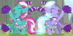 Size: 1260x630 | Tagged: cheerleader, lilac sky, pegasus, pony, rainbow falls, safe, screencap, spring step, sunlight spring