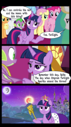 Size: 728x1290 | Tagged: alicorn, applejack, canterlot, comic, dragon, edit, edited screencap, editor:midnightglimmer, element of magic, empress, fangs, female, fluttershy, flying, hooves, horn, jewelry, male, mane six, mare, mare in the moon, mare in the sun, misspelling, moon, open mouth, pegasus, pinkie pie, pony, princess celestia, rainbow dash, rarity, safe, scepter, screencap, screencap comic, smiling, spike, tiara, twilight scepter, twilight sparkle, twilight sparkle (alicorn), tyrant sparkle, unicorn, wings