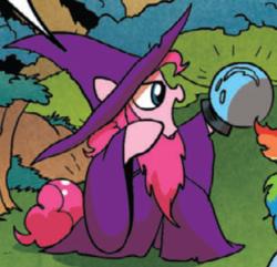 Size: 366x353 | Tagged: safe, idw, pinkie pie, rainbow dash, earth pony, pony, spoiler:comic, spoiler:comic16, hat, wizard, wizard hat, wizard robe