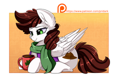 Size: 2430x1576 | Tagged: safe, artist:pridark, oc, oc only, oc:graph travel, pegasus, pony, clothes, cup, cutie mark, drink, female, freckles, green eyes, mare, patreon, patreon logo, patreon reward, scarf, smiling, solo, vest