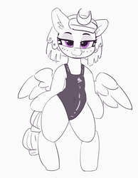 Size: 2631x3389 | Tagged: artist:pabbley, bedroom eyes, bipedal, clothes, cute, ear fluff, female, high res, humanoid legs, humanoid torso, human shoulders, mare, one-piece swimsuit, pegasus, safe, semi-anthro, short neck, solo, somnambetes, somnambula, sukumizu, swimsuit