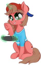 Size: 830x1293 | Tagged: 2020 community collab, artist:t72b, clothes, derpibooru community collaboration, derpibooru exclusive, female, hat, magic, mare, nintendo switch, oc, oc:nintendy, pony, safe, sitting, solo, telekinesis, unicorn, waving