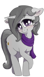 Size: 695x1202 | Tagged: 2020 community collab, artist:t72b, clothes, derpibooru community collaboration, derpibooru exclusive, female, floppy ears, mare, oc, oc:rainbow crash, pony, safe, scarf, simple background, smiling, solo, transparent background, unicorn