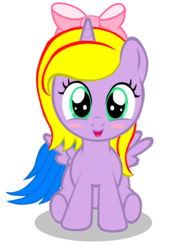 Size: 852x1176 | Tagged: safe, artist:avchonline, oc, oc only, oc:princess lucyan, alicorn, pony, alicorn oc, blushing, bow, female, filly, hair bow, simple background, sitting, solo, white background