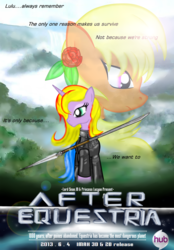 Size: 2668x3825 | Tagged: safe, artist:avchonline, oc, oc only, oc:princess lucyan, oc:sean, alicorn, pegasus, pony, after earth, alicorn oc, armor, bust, clothes, crossover, duo, female, flower, flower in hair, male, mare, poster, spear, stallion, weapon
