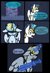Size: 654x958 | Tagged: alicorn, alicorn oc, angry, artist:hunterthewastelander, comic, comic:the transgression, dialogue, door, female, glowing horn, helmet, horn, knocking, magic, male, mare, oc, oc:snowstorm brina cavaliere, offspring, onomatopoeia, parent:princess cadance, parent:shining armor, parents:shiningcadance, pony, safe, shining armor, stallion, sword, telekinesis, unicorn, weapon