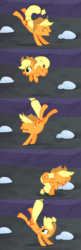 Size: 1145x3521 | Tagged: applejack, earth pony, happy, jumping, kicking, pony, safe, the cutie map