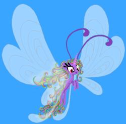 Size: 612x600 | Tagged: safe, artist:auroraswirls, oc, oc only, oc:aurora swirls, breezie, base used, breeziefied, female, flying, simple background, solo, species swap