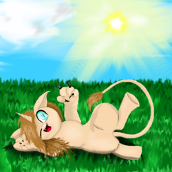 Size: 800x800 | Tagged: artist:auroraswirls, basking in the sun, cloud, grass, oc, oc:leo sunlover, oc only, one eye closed, paws, safe, solo, sphinx, sphinx oc, sun, wink