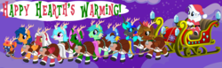 Size: 13000x4000 | Tagged: safe, artist:evilfrenzy, rarity, oc, oc:brainstorm, oc:cold front, oc:frenzy, oc:kryostase, oc:levi, oc:quillwrite, oc:spearmint, oc:strip tease, oc:sunfyre, alicorn, pegasus, pony, unicorn, animal costume, antlers, baby, bell, changeling pony, christmas, clothes, costume, crossdressing, diaper, female, femboy, foal, hat, holiday, male, night, pacifier, reindeer antlers, reindeer costume, santa claus, santa costume, santa hat, sleigh, the jewelry box