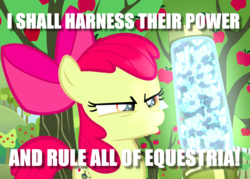 Size: 1134x810 | Tagged: safe, edit, edited screencap, screencap, apple bloom, twittermite, bloom and gloom, apple, apple tree, caption, cropped, image macro, scheming, solo, text, tree