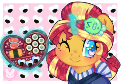 Size: 5400x3766 | Tagged: artist:bunxl, bust, colored pupils, cute, digital art, eqg summertime shorts, eye clipping through hair, female, food, good vibes, heart, heart eyes, high res, portrait, safe, shimmerbetes, smiling, solo, starry eyes, sunset shimmer, sunset sushi, sushi, wingding eyes