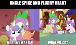 Size: 829x499 | Tagged: a flurry of emotions, alicorn, blocks, bonding, book, dragon, edit, edited screencap, female, filly, list, male, meme, missed opportunities, paper, pony, princess flurry heart, reading, safe, screencap, sitting, spike, sugarcube corner, text, throwing, uncle spike