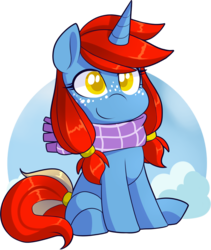 Size: 1569x1861 | Tagged: safe, artist:xwhitedreamsx, oc, oc:armored star, pony, unicorn, alternate design, chibi, clothes, female, mare, scarf, simple background, solo, transparent background