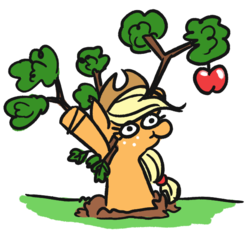 Size: 645x604 | Tagged: safe, artist:jargon scott, applejack, earth pony, pony, apple, behaving like a tree, female, food, freckles, hat, mare, silly, silly pony, solo, tree, treejack, who's a silly pony