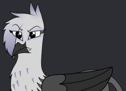 Size: 1972x1428 | Tagged: angry, artist:somber, black background, colored, female, flat colors, griffon, oc, oc:nyrkatia, oc only, safe, simple background, solo