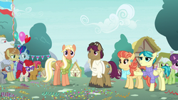 Size: 1280x720 | Tagged: safe, screencap, aunt holiday, auntie lofty, babs seed, blue note, bulk biceps, chipcutter, feather bangs, granny smith, mane allgood, snap shutter, sugar belle, twist, pony, the last crusade, spoiler:s09e12