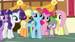 Size: 1920x1080 | Tagged: applejack, fluttershy, mane six, pinkie pie, rainbow dash, rarity, safe, screencap, spike, spoiler:s09e12, the last crusade, twilight sparkle