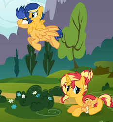 Size: 863x926 | Tagged: safe, artist:missxxfofa123, flash sentry, sunset shimmer, pony, base used, family, female, flashimmer, male, offspring, parent:flash sentry, parent:sunset shimmer, parents:flashimmer, shipping, straight