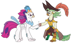 Size: 3105x1905 | Tagged: safe, artist:supahdonarudo, captain celaeno, queen novo, classical hippogriff, hippogriff, parrot pirates, my little pony: the movie, crystal pegleg, ear piercing, handshake, hat, piercing, pirate, pirate hat, simple background, transparent background