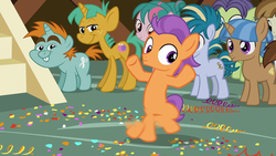 Size: 1280x720 | Tagged: colt, dancing, featherweight, female, filly, male, motion blur, safe, screencap, skeedaddle, snails, snips, spoiler:s09e12, tap dancing, tender taps, the last crusade