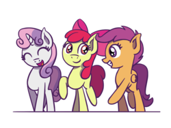 Size: 1280x960 | Tagged: safe, artist:flutterluv, apple bloom, scootaloo, sweetie belle, earth pony, pegasus, pony, unicorn, cutie mark crusaders, simple background, smiling, transparent background, trio
