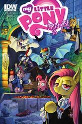 Size: 1186x1800 | Tagged: safe, artist:andypriceart, applejack, fluttershy, pinkie pie, rainbow dash, rarity, spike, twilight sparkle, alicorn, bat, bat pony, bat pony alicorn, pony, vampire, idw, night of the living apples, spoiler:comic, spoiler:comic33, alicornified, apple, apple core, applebat, barnabas collins, bat ponified, bela lugosi, bottle, box, candle, cape, clothes, count orlok, cover, dark shadows, dracula, ear piercing, earring, female, flutterbat, food, interview with a vampire, jacket, jewelry, leather jacket, lestat de lioncourt, mane seven, mane six, mare, musical instrument, nosferatu, piano, piercing, pinkiebat, race swap, rainbowbat, raribat, raricorn, sheet music, the lost boys, the vampire chronicles, traditional art, twibat, twilight sparkle (alicorn), vampirella
