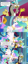 Size: 2000x4488 | Tagged: safe, edit, edited screencap, screencap, discord, princess celestia, princess luna, twilight sparkle, alicorn, draconequus, the ending of the end, angry, canterlot castle, canterlot throne room, comic, discord drama, good intentions, good intentions gone wrong, hurricane neddy, ned flanders, nervous, pointing, reference, screencap comic, speech bubble, stained glass, stained glass window, the simpsons, twilight sparkle (alicorn)