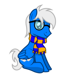 Size: 2500x2500 | Tagged: 2020 community collab, artist:pizzamovies, clothes, derpibooru community collaboration, glasses, male, oc, oc only, oc:silver seraph, safe, scarf, simple background, solo, stallion, transparent background
