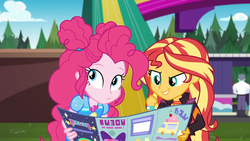Size: 1920x1080 | Tagged: safe, screencap, max steele, pinkie pie, sunset shimmer, equestria girls, equestria girls series, sunset's backstage pass!, spoiler:eqg series (season 2), brochure, cute, diapinkes, duo, duo female, female, geode of sugar bombs, magical geodes, male, outdoors, security guard, shimmerbetes, smiling