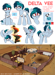 Size: 3402x4597 | Tagged: safe, artist:shinodage, oc, oc:delta vee, pegasus, pony, bags under eyes, blushing, cigarette, clothes, cutie mark, digital art, equestrian flag, explosion, female, flying, high res, junkyard, mare, mother, open mouth, reference sheet, smiling, solo, tanktop, trailer, wing hands, wings