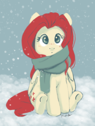 Size: 2449x3252   Tagged: safe, artist:pucksterv, fluttershy, pegasus, pony, alternate hair color, blushing, clothes, color palette challenge, cute, female, folded wings, high res, limited palette, looking at you, mare, scarf, shyabetes, sitting, snow, snowfall, solo, wings, winter, winter outfit