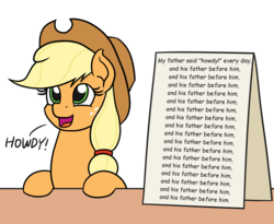 Size: 1100x900 | Tagged: safe, artist:mkogwheel edits, edit, applejack, earth pony, pony, and his father before him, applejack's sign, female, howdy, mare