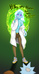 Size: 1000x1897 | Tagged: artist:starwantrix, clothes, crossover, equestria girls, human, lab coat, parody, portal, rick and morty, safe, szechuan sauce, trixie, wingding eyes