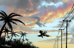 Size: 5100x3300 | Tagged: safe, artist:supermoix, pegasus, pony, afternoon, cloud, cloudy, scenery, scenery porn, solo, sunset