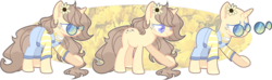 Size: 1024x303 | Tagged: artist:chococolte, bald, clothes, female, glasses, mare, oc, overalls, pony, reference sheet, safe, solo, unicorn