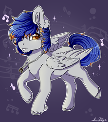Size: 1554x1752 | Tagged: artist:serenity, brown eyes, jewelry, necklace, oc, oc:scratche aux, pegasus, purple background, safe, simple background