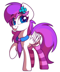 Size: 2500x3001 | Tagged: 2020 community collab, artist:sharemyshipment, clothes, cute, derpibooru community collaboration, female, flower, flower in hair, mare, necktie, oc, oc:lavanda, oc only, pegasus, pony, safe, simple background, socks, solo, stockings, striped socks, thigh highs, tongue out, transparent background