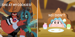 Size: 1920x953 | Tagged: safe, artist:aleximusprime, artist:mlp-silver-quill, edit, cozy glow, lord tirek, queen chrysalis, centaur, changeling, changeling queen, pegasus, pony, angry, behaving like a cat, black sclera, blatant lies, cookie, cozybetes, cupcake, cute, cutealis, evil lair, fangs, female, filly, floppy ears, food, frown, glare, grogar's lair, group, inverted mouth, lair, legion of doom, lidded eyes, male, male and female, meme, meme parody, open mouth, plate, pointing, ponified meme, pure unfiltered evil, scared, table, tirek yelling at cozy glow, villain teamup, wide eyes, woman yelling at a cat, yelling