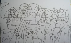 Size: 4565x2801 | Tagged: safe, artist:徐詩珮, fizzlepop berrytwist, glitter drops, spring rain, tempest shadow, twilight sparkle, alicorn, pony, unicorn, series:sprglitemplight diary, series:springshadowdrops diary, alternate universe, broken horn, clothes, crown, cute, female, glitterbetes, glitterlight, glittershadow, horn, jewelry, lesbian, lineart, mare, polyamory, regalia, scarf, shipping, sprglitemplight, springbetes, springdrops, springlight, springshadow, springshadowdrops, tempestbetes, tempestlight, traditional art, twiabetes, twilight sparkle (alicorn)